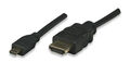 HDMI Kabel High Speed with Ethernet mit Micro D Schwarz 5 m