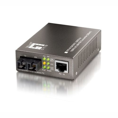 Media Konverter Fast Ethernet für PoE, 10/100TX-100FX SC MM