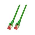Patchkabel RJ45, S/FTP, Cat.6, LSZH, 0.15m, grün
