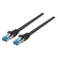 Patchkabel RJ45, S/FTP, Cat.6A, Cat.7 Rohkabel, 0,15m, schwarz