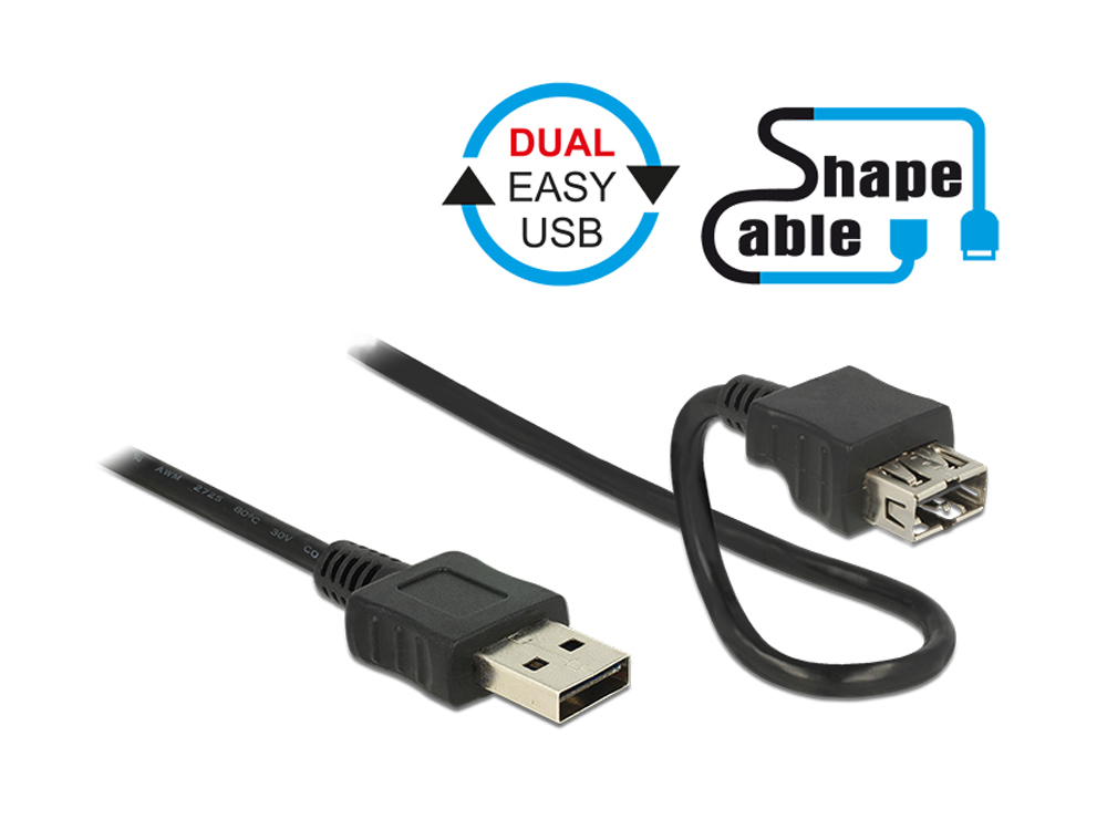 Anschlusskabel EASY USB 2.0, Typ A Stecker an Typ A Buchse, ShapeCable, schwarz, 2m, Delock