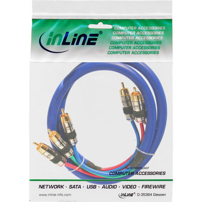 InLine Cinch Audio / Video Kabel  blau 3 Meter