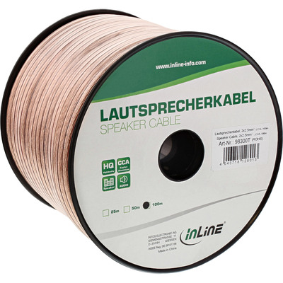 InLine Lautsprecherkabel, 2x 2,5mm², CCA, transparent, 100m