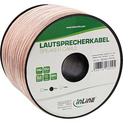 InLine Lautsprecherkabel, 2x 2,5mm², CU, transparent, 50m