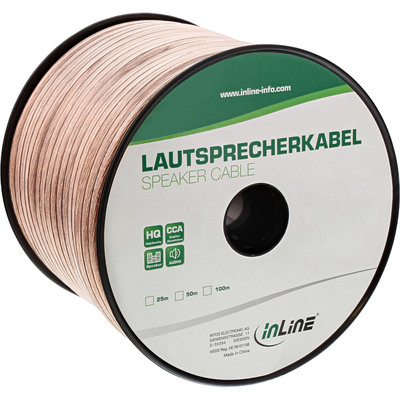 InLine Lautsprecherkabel, 2x 2,5mm², CCA, transparent, 50m