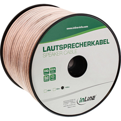 InLine Lautsprecherkabel, 2x 4mm², CCA, transparent, 100m