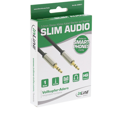 InLine Basic Slim Audio Kabel Klinke 3,5mm ST/ST, Stereo, 1m