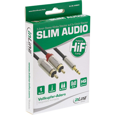 InLine Basic Slim Audio Kabel Klinke 3,5mm ST an 2x Cinch ST, 1m