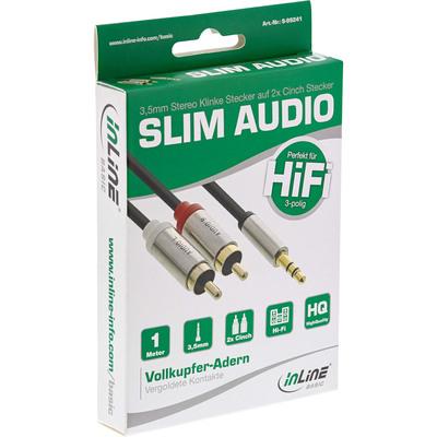 5m InLine® Slim Audio Kabel Klinke 3,5mm ST an 2x Cinch ST