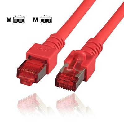 Communik© - Cat.6 Patchkabel RJ45, S/FTP (PIMF), 0,15 Meter, Farbe rot, halogenfrei