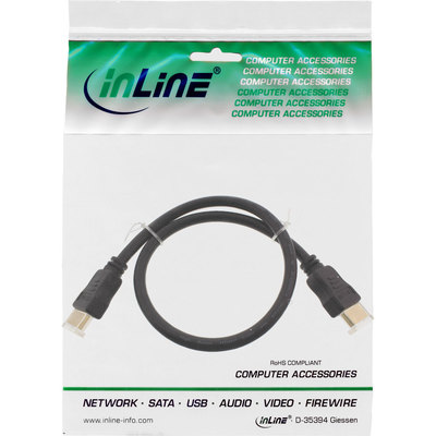 InLine HDMI Kabel, HDMI-High Speed mit Ethernet, Premium, Stecker / Stecker, schwarz / gold, 0,3m