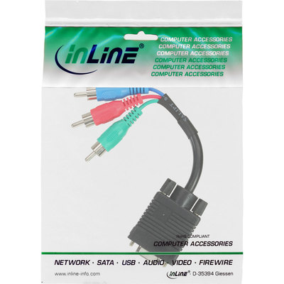 InLine VGA RGB Adapter Kabel, VGA Buchse an 3x Cinch Stecker, 15cm