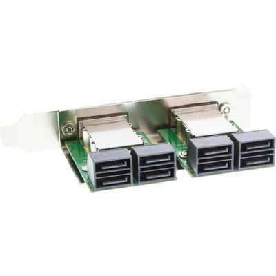 InLine Dual SAS Slotblech PCI, 2x ext. SFF-8088 (TARGET OUT) auf int. 8x SATA (HOST IN)
