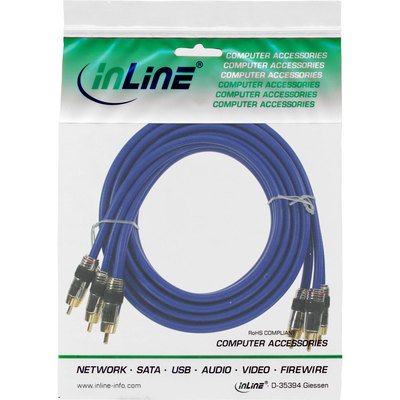 InLine Cinch Kabel AUDIO/VIDEO, PREMIUM, vergoldete Stecker, 3x Cinch Stecker / Stecker, 0,5m