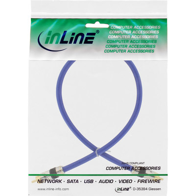 InLine Cinch Kabel VIDEO & digital AUDIO, PREMIUM, vergoldete Stecker, 1x Cinch Stecker / Stecker, 0,5m