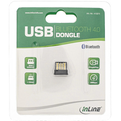 InLine Bluetooth Dongle, Bluetooth 4.0 + EDR, USB Adapter im Mikroformat